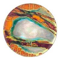 "SUPERB Vintage 1960s 70s Gwendolyn Orsinger Anderson ORSINI Copper Enamel Abstract Modernist Art Platter - Measures 9-3/4"" diameter"