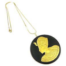 HUGE Vintage 1970s Wedgwood Egyptian Revival Gold on Black Pendant + Chain NECKLACE in Original Box