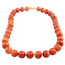 BIG Gorgeous Vintage 1950s Chinese 14K Gold & Carved Carnelian 10mm Beads Knotted Silk NECKLACE