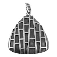 BIG Vintage 1960s GERMANY Handmade Sterling Silver Geometric Modernist PENDANT