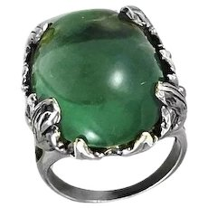 BIG 1960s 70s Handmade Sterling Silver & Green Quartz Statement Cocktail RING - Size 9.25 US