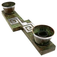 RARE 1950s Graziella LAFFI Peru Handmade Mixed Metals Copper & Sterling Geometric Candelabra CENTERPIECE