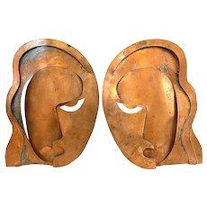 HUGE Rare 1940s Francisco Rebajes NYC Handmade Copper Veronica Lake Wall PLAQUES