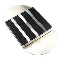 BIG Vintage 1980s SIGNED Handmade Sterling Black Onyx & Shell Geometric Modernist Brooch PIN