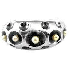 RARE Antonio Pineda Taxco SUPERB Vintage 1950s 60s Handmade 970 Silver & Cultured Pearls Mexican Modernist Cuff BRACELET