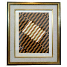 Original OP ART Stairs Lithograph 1960s Signed & Numbered Framed Matted & under Glass