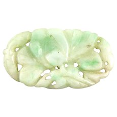 ANTIQUE Hand Carved Jadeite Jade Chinese Floral Design Cut Thru Oval Pendant PLAQUE