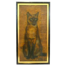 SIGNED 1950s SIAMESE CAT San Francisco California Chinoiserie Modernist Framed & Matted Original PAINTING