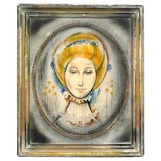 ORIGINAL Leon D'Usseau DUSSO Vintage 1960s 70s Original Oil on Board PAINTING with Original Artist Painted Framing