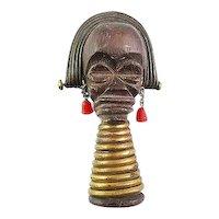 BIG Vintage 1930s Martha SLEEPER Carved Wood & Red Bakelite African UBANGI Woman Brooch PIN