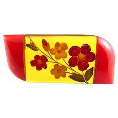 BIG Vintage 1930s ART DECO Reverse Carved AJ & Red BAKELITE Floral Design Brooch PIN