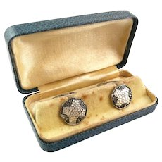 ANTIQUE Arts & Crafts c. 1910 Handmade Hammered Design Sterling Silver CUFFLINKS in Original Box
