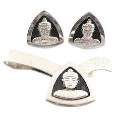 BIG Vintage 1950s KREISLER USA Sterling Silver BUDDHA Buddhist Design Cufflinks & Tie Bar SET