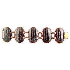BIG Rare Vintage 1960s De PASSILLE SYLVESTRE Quebec Canada Handmade Copper Enamel Modernist BRACELET