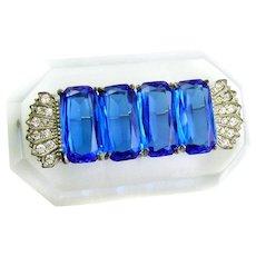BIG Rare Vintage 1930s 40s Art Deco Moderne Handmade Carved Lucite Rhinestones & Blue Glass Brooch PIN