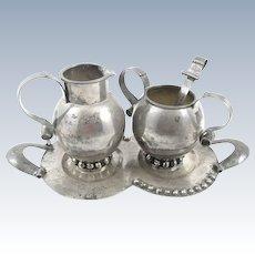 RARE 1940s 50s Los Castillo Art Deco Handmade Sterling Silver 4 Pce Sugar Creamer Spoon & Tray SET