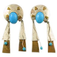 HUGE Vintage 1970s 80s Handmade Mixed Metals Sterling Silver Brass & Turquoise Ethnic Tribal Modernist Pierced EARRINGS