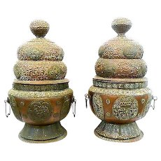 MONUMENTAL Pair Vintage 1930s 40s Handmade Copper & Brass Repoussage Tibet Nepal Covered Vessels