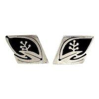 BIG Vintage 1950s RANCHO ALEGRE Mexico Modernist Handmade Sterling Silver & Black Onyx CUFFLINKS