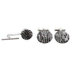 Vintage 1960s 70s SIGNED Mid Century Modernist Handmade Sterling Silver Brutalist Cufflinks & Tie Tac Pin SET
