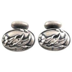Antique American Art Nouveau Arts & Crafts Handmade Sterling Silver Japonaiserie Floral Design CUFFLINKS