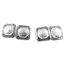 Antique Arts & Crafts Hammered Sterling Silver & Black Enamel Geometric Design CUFFLINKS