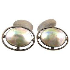Antique c.1900-10 Arts & Crafts Jugendstil Handmade Sterling Silver & Blister Pearl Geometric Design CUFFLINKS