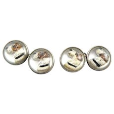 Vintage 1920s 30s Art Deco SIGNED Handmade Sterling Silver and Carved & Painted Reverse Intaglio AIREDALE Dog Design CUFFLINKS