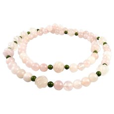 BIG Vintage 1950s 60s Chinese Hand Carved Rose Quartz & Jade Beads NECKLACE