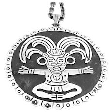 HUGE Vintage 1940s 50s LOS BALLESTEROS Taxco Handmade Sterling Silver pre Columbian Figure design Pendant with Chain NECKLACE