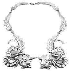 RARE 1940s Los Castillo Taxco Margot Design Handmade Early 980 Silver CHINESE DRAGONS Necklace
