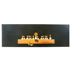 RARE and HUGE 1950s Talleres MONASTICOS Handmade Mixed Metals & Painted Wood Mexican Modernist Last Supper Wall Art SCULPTURE