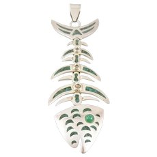 """HUGE 1960s 70s SIGNED Handmade Sterling Silver & Malachite Inlay Mexican Modernist FISH BONES Design PENDANT - 5-1/2"""" long!"""