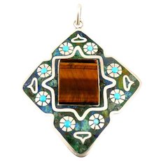 HUGE 1960s 70s Melecio Rodriguez Taxco Handmade Sterling Silver Mexican Modernist Floral Design PENDANT