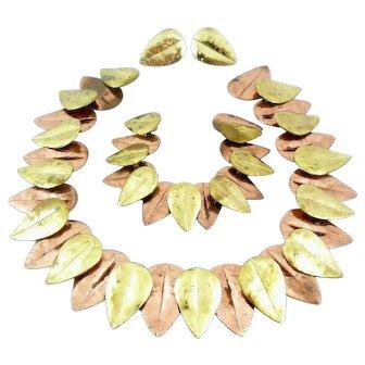 RARE 1950s Winifred Mason Chenet d'Haiti Handmade Mixed Metals Copper & Brass LEAVES Design Necklace Bracelet & Earrings SET