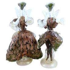 PAIR of BIG Vintage 1970s Gorgeous Handmade Murano Art Glass Venetian Italy French Style COURTIERS Figures Statues SCULPTURES