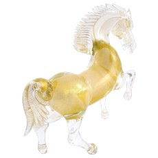 SPLENDID Vintage 1970s 80s Handmade Murano Art Glass Venetian REARING HORSE Figure Statue SCULPTURE