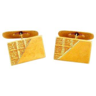 Vintage 1990 D. Ekstrom Falkoping Sweden Handmade 18K Gold Abstract Modernist CUFFLINKS