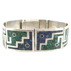 TONO of Taxco Vintage 1980s Handmade Sterling Silver Malachite & Azurite Inlay Geometric Modernist Link BRACELET
