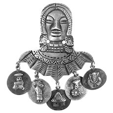 HUGE Vintage 1940s 50s Ecuador Handmade 900 Silver Bust of Woman with Five Scenic Dangles Brooch PIN