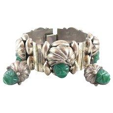 BIG Heavy 1930s 40s Mexico Silver Handmade Carved Green Onyx TURBANED HEADS Design Bracelet & Earrings SET