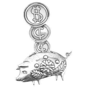 HUGE 1940s Los Castillo Taxco Margot Design Handmade Sterling Silver Coins & Piggy Bank Design Brooch PIN