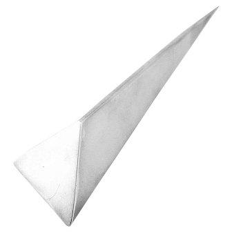 MASSIVE 1980s 90s Marcin ZAREMSKI Poland Handmade Sterling Silver Geometric Modernist Brooch PIN