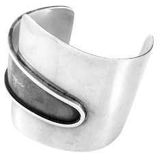 HUGE 1940s 50s Ed WIENER NYC Handmade Sterling Silver Mid Century Studio Modernist Cuff BRACELET