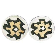 BIG 1950s 60s Estela POPOWSKI Taxco handmade sterling silver brass and black onyx Mexican modernist CUFFLINKS