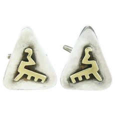 BIG 1950s Felipe MARTINEZ Piedra Y Plata Handmade Mixed Metals Sterling Silver and Brass abstract Mexican Modernist CUFFLINKS