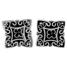 BIG Vintage 1960s 70s TONO of Taxco Mexico Handmade Sterling Silver & Onyx Ornate Raised Design CUFFLINKS
