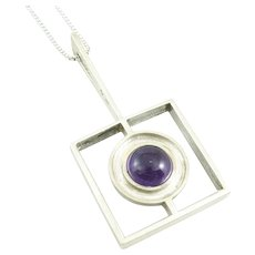BIG 1950s 60s SIGNED Handmade 800 Silver & Amethyst Geometric Modernist PENDANT on Sterling Chain NECKLACE