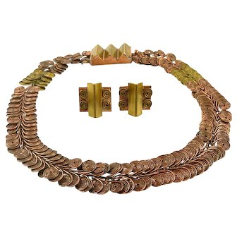 SUPERB 1940s Loyola Fourtane California Handmade Mixed Metals Copper & Brass Geometric Art Deco to Modernist Necklace and Earrings SET