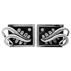 BIG Vintage 1950s Rancho Alegre Miguel Garcia MARTINEZ Handmade Sterling Silver Modernist Design CUFFLINKS